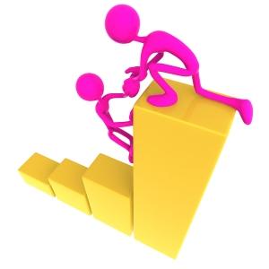 Teamwork Help Up Golden Business Bar Graph