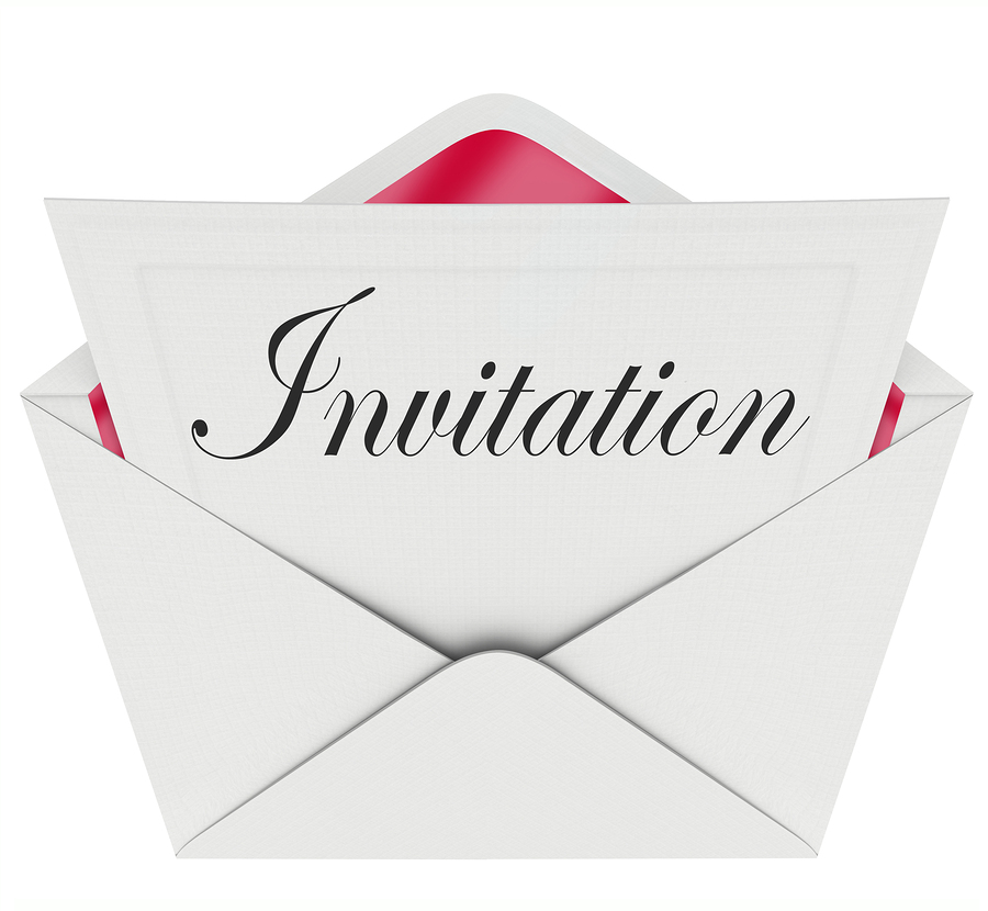 The word Invitation on a card in an envelope formally inviting y