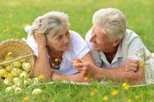 Happy elder couple resting